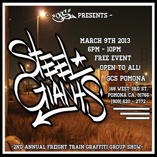 Tonight 6pm-10pm at @gcsclothing Pomona #trains #graffiti #freeshow