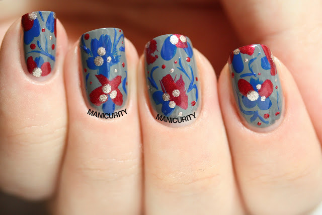 Tri-Polish Challenge: Abstract Floral Tapestry    Click through for more info + photos - http://bit.ly/135Utcz