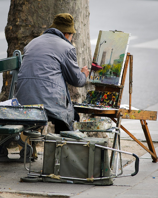 elorablue:  Painter on a Bench by Yann Le Biannic on Flickr.