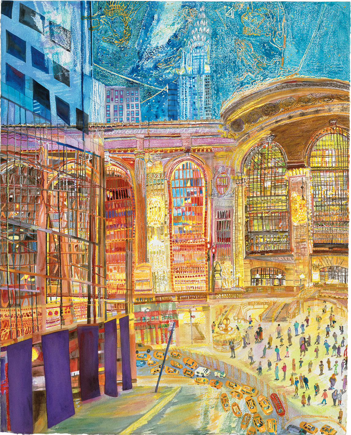 artsfortransit:   Today, we would like to spotlight painter Olive Ayhens who created two beautiful pieces of artwork for our ONTIME/Grand Central at 100 exhibition. Ayhens hones in on the architectural details from above to create a swirling, bold tapestry of color that conveys the reflection of life both inside and outside Grand Central Terminal. She uses the constellations as the sky above the terminal, freeing them from their earthly architecture. Also, keep a look out for her poster… coming to a subway near you!
