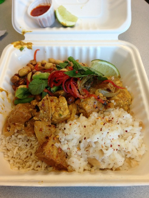 Lunch time - Cafe MAC  Salor Kari Sap  Tofu braised in yellow coconut curry sauce with potatoes, Thai eggplant, onions, crispy peanuts, chile oil, lime wedge, mint, clinatro and Thai basil garnish!  Side of coconut fried rice and brown jasmine rice