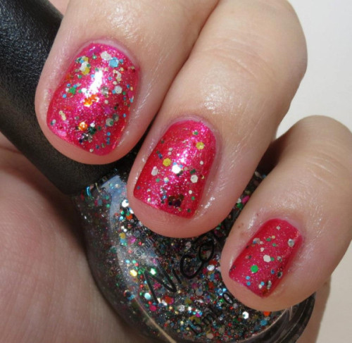 "Selena Gomez' ""Scarlett"" with ""Confetti Fun"" on top, from her Nicole by OPI Nail Polish Collection!"