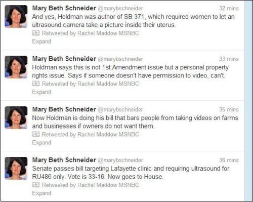"quickhits:  Indiana Star reporter Mary Beth Schneider's timeline of Indiana GOP hypocrisy. Democrats peppered both SB 528 and another anti-abortion bill — SB 489, which mandates color photos in abortion consent forms — with a series of amendments saying the same requirements in those bills should apply to clinics and drugs for erectile dysfunction. ""If it's good for the goose, it's good for the gander,"" said Sen. Jean Breaux, D-Indianapolis. ""If this bill really is about the health of the female… then let's make sure that the health of the Hoosier male is just as met."" If it is important to mandate an invasive ultrasound for women, she said, then it should be equally important for lawmakers to require men to go through invasive physical procedures to get erectile dysfunction treatment. Sen. Mark Stoops, D-Bloomington, sought a similar amendment to SB 489l, requiring color photographs of vasectomies be shown to men considering that sterilization procedure, and requiring that men be told about the risks, just as women getting an abortion are required by state law to be told of the risks. If lawmakers are concerned about men's health, Stoops said, men should be warned about scrotum infections and the emotional trauma of losing fertility. And, he said, men should not be discriminated against. They should undergo a prostate exam, something as invasive as a transvaginal probe. Sen. Mike Young, R-Indianapolis, angrily accused Democrats of making a mockery of his bill, which he noted also ends a requirement that women be forced to hear the fetal heartbeat.  No, Mike Young. The mockery is your bill that forces an invasive procedure on women and pretending to be for their good."