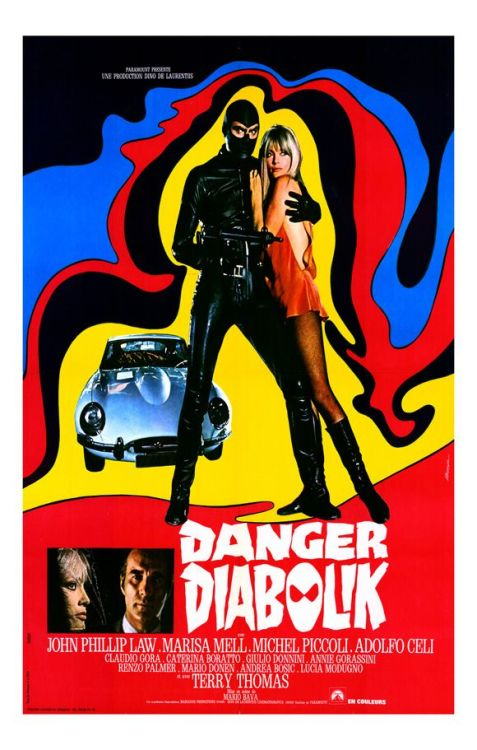 piratetreasure:  danger: diabolik 1968 mario bava  Danger: Diabolik This was one of my favourites—I even bought the DVD. Some good use of foreground miniatures by Bava, and a little dark from the original comic book source, which fits more with the fin de siècle mood than other films of this genre in the 1960s.