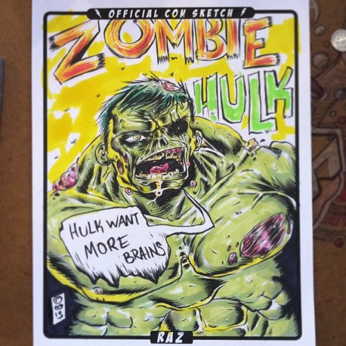 Color con sketch of Zombie Hulk. #convention #comiccon #comicconvention #colorart#color#painting#markers#paint#colorillustration#colordrawing#draw#drawing#art#illustration#artist#illustrator #bestillustrationoftheday#drawingoftheday#illustrationoftheday#bestdrawingoftheday#instagood#photooftheday #Instamood
