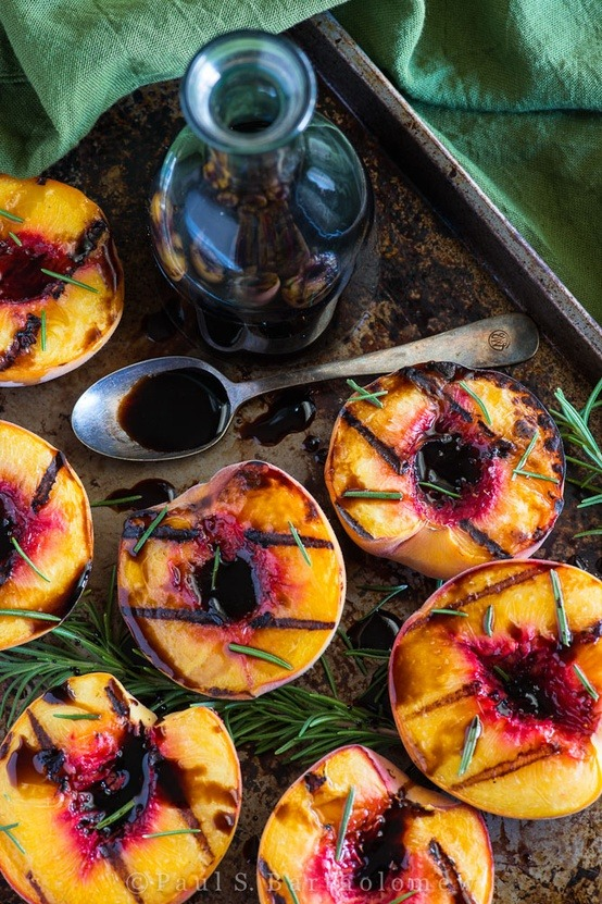 basilgenovese:  Grilled Peaches w/ Rosemary & Balsamic Vinaigrette