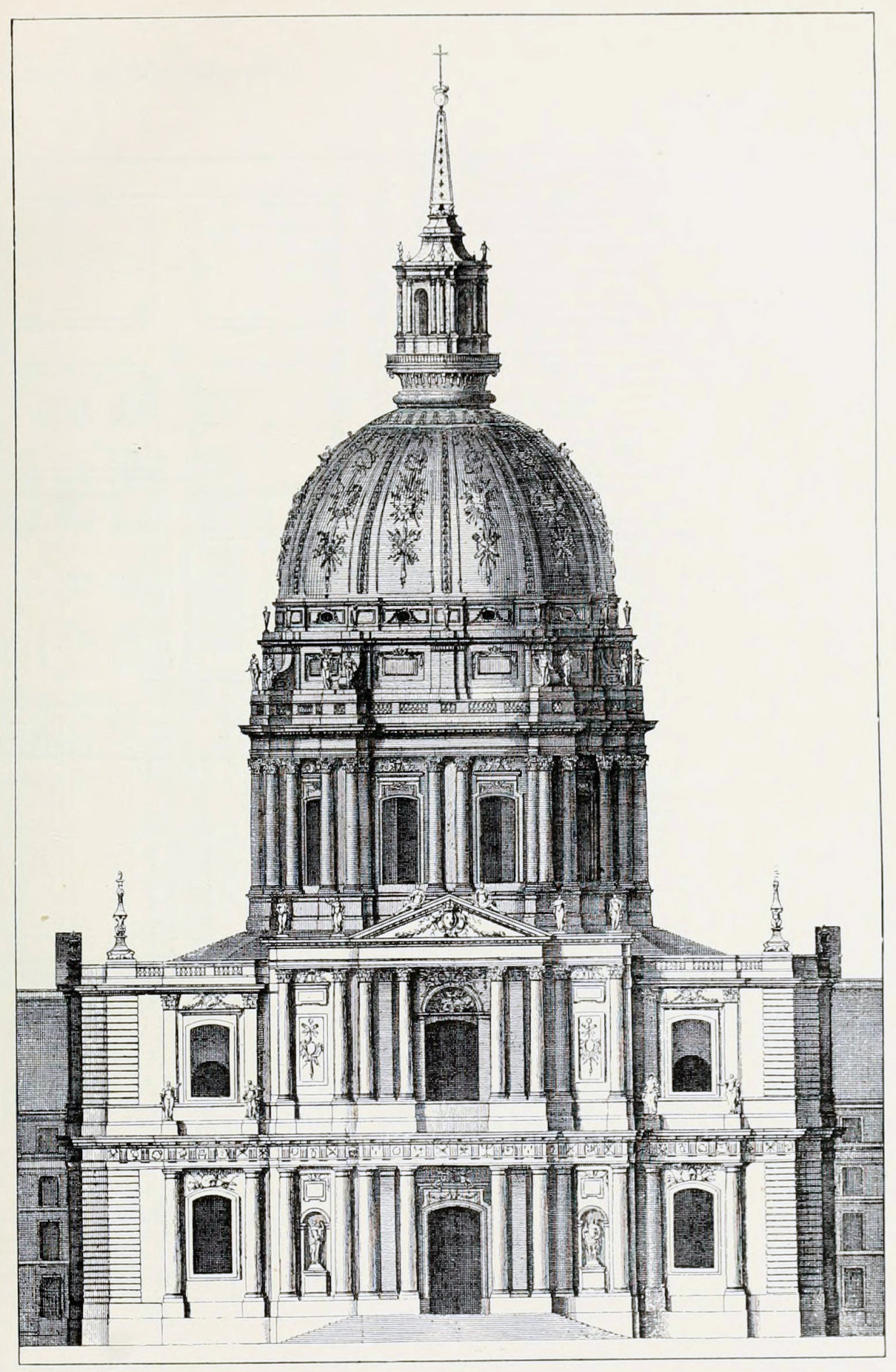 archimaps:  Elevation of Mansart's Dome of the church of the Invalides, Paris