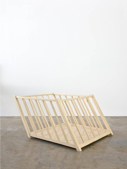 Robert Gober Slanted Playpen Wood and enamel paint 23 3/4 x 50 x 36 1/4 inches 1987