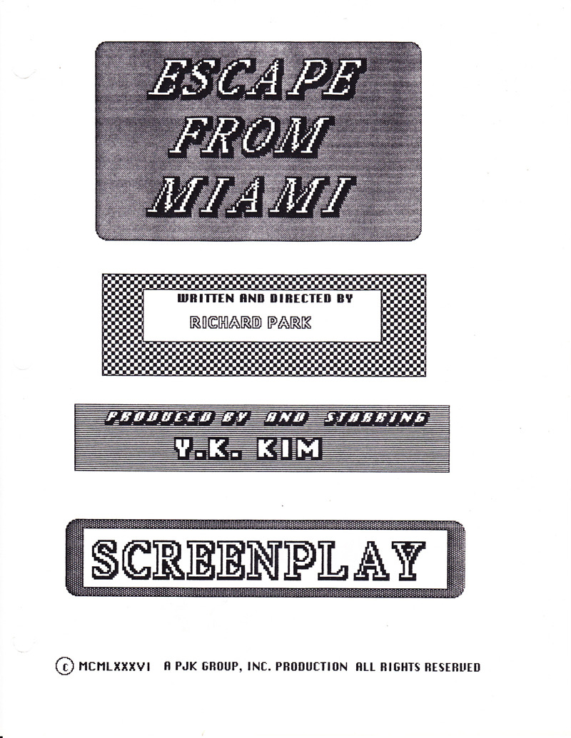 "birthmoviesdeath:  Cover page to the original Miami Connectionscreenplay from 1986 under its original title ""Escape From Miami"". Download a free 105-page PDF of the entire script right here. And you can also watch Miami Connection right here.  The original screenplay to Miami Connection!? Awesome."