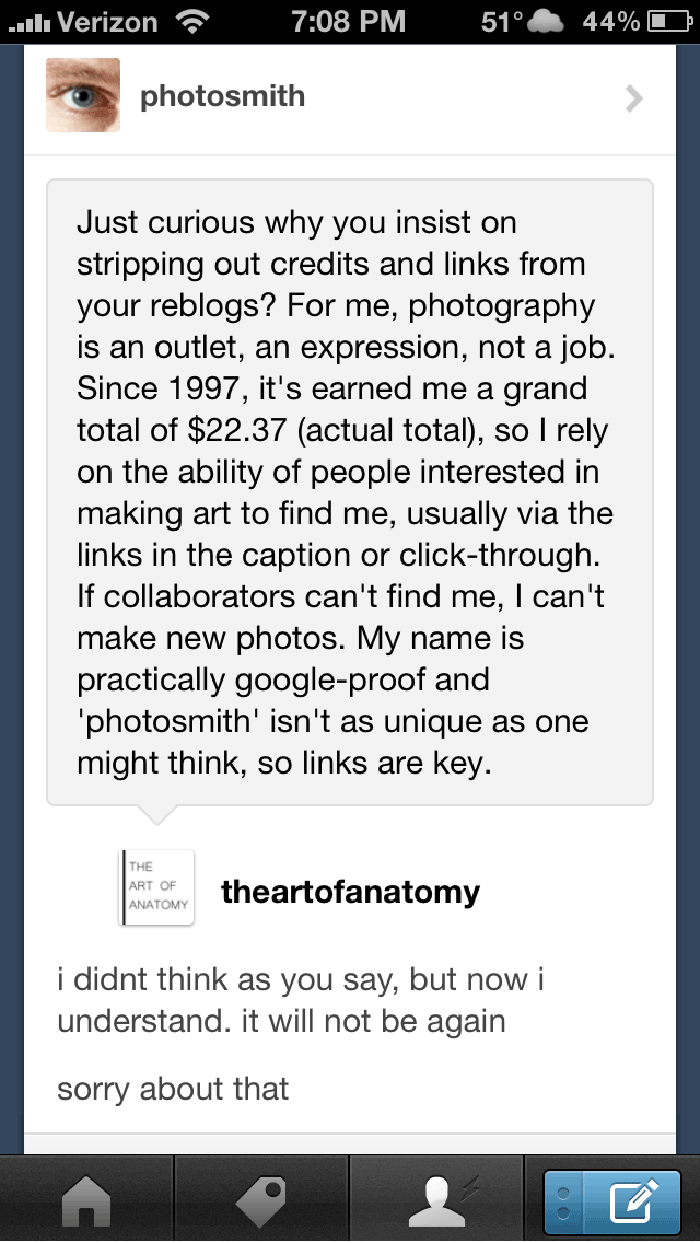 I try to follow up on reblogs from sites that are new to my dashboard, either to say thanks or ask that they restore the models' credits. Sometimes it actually gets someone to stop and think about the impact of removing the credit from a piece of art – both, on the people who make it and their ability to continue making art. Anyway… I'm starting to feel reasonably human-like again and will post something new, soon.