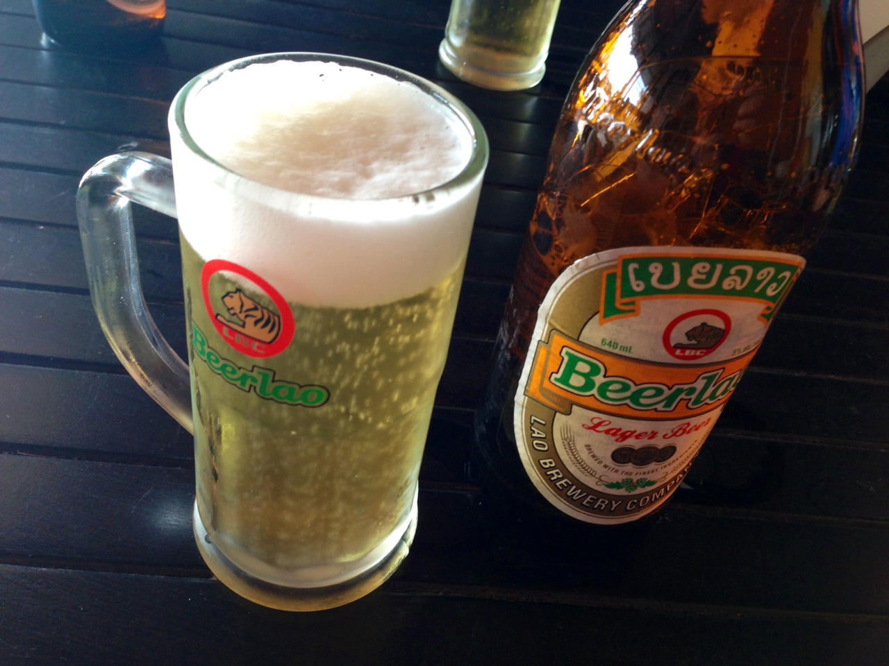 Beer Lao, the cornerstone of every meal on visa runs to Vientiane. Here as a lighter version. I prefer the dark one.