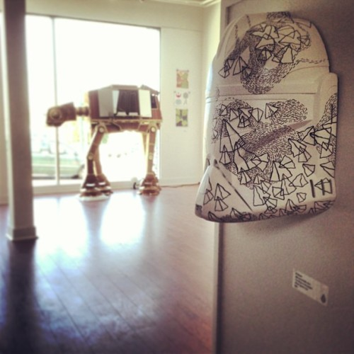 "Mask by Ali Bruce w/ Colin Johnson's AT-AT in the background ""May LaForge Be With You"" / on Instagram http://bit.ly/131906d"