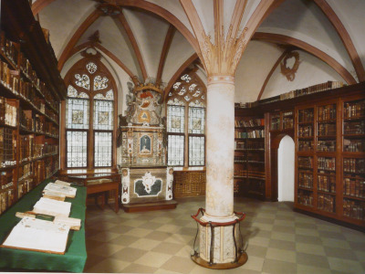 booksnbuildings:  St. Nikolaus-Hospital: the late Gothic library, built 1451-1458 and still hosting the personal collection of books of polymath Nikolaus von Kues, with manuscripts dating from the 9th to the 15th century. (Bernkastel-Kues, Germany) Photo: Kathy_Gene on flickr