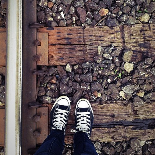 I think I'm a bit too obsessed with my #converse… 😁👟❤ #allstar #sneakers #tiny #shoes #railroad #train #travel #lomo #vintage #summer