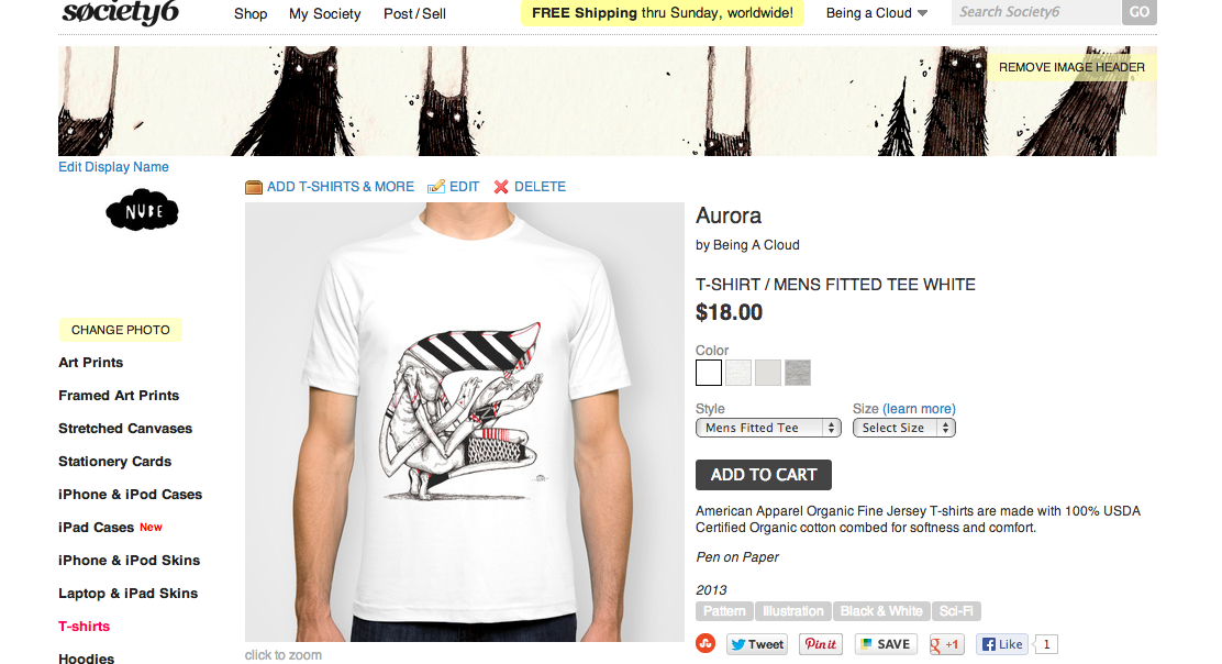 NEW! Aurora T-shirt available on my Society6 Store!LINK: http://society6.com/Enlasnubes/Aurora-YcL_Print American Apparel Organic Fine Jersey T-shirts are made with 100% USDA Certified Organic cotton combed for softness and comfort.