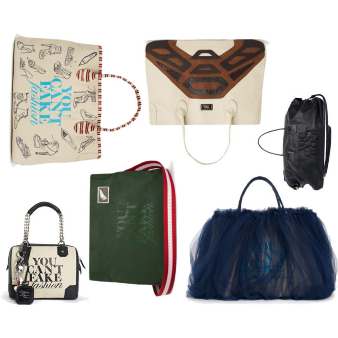 More Bags from the You Can't Fake Fashion Auction with CFDA & eBay The You Can't Fake Fashion auction is still going strong through Monday. Here's a few more selections from the total of 90 bags created by top designers. All monies go towards CFDA to combat counterfeit goods. Read more and begin your bidding on YCFF. Clockwise (starting top left): Tabitha Simmons, Alejandro Ingelmo, John Varvatos, Zac Posen, Michael Bastian, Alice + Olivia [MORE] (Photo: Courtesy of eBay. Text by Jauretsi)