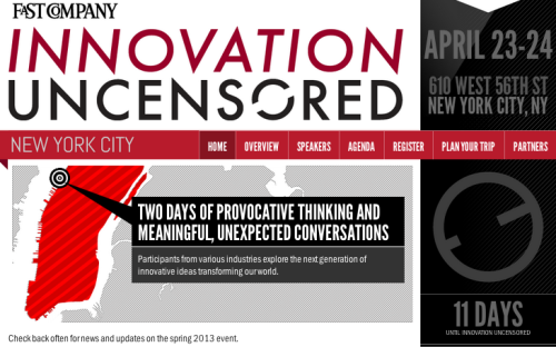 "Our Innovation Uncensored conference is coming up! ""Participants from various industries explore the next generation of innovative ideas transforming our world."" Find out more, register, and check out our Vine feed here."