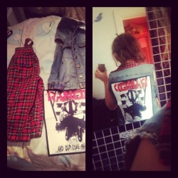 Started off with a pair of old tartan trousers( yes I was really punk at 13) a sleeveless denim jacket and a patch, ended up with a tartan collared Rancid jacket, fab.