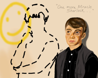 midnightxmonster:  My little contribution to Reapersun's Let's Draw Sherlock challenge going on :) It took me a while to complete because of work and school but here it is! (Sorry for the terrible anatomy -A-; Still working on it)  Snif! :'o(