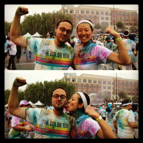 Check out them guns! #truelove @TheColorRun #colorrun