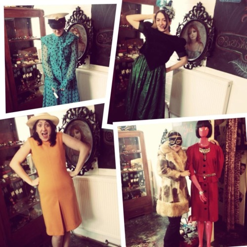 Liz trying on some vintage dresses - I loved this collage Sarah did for us