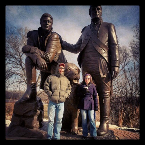 Christian and Renee with Lewis, Clark, and Seaman the dog in St. Charles