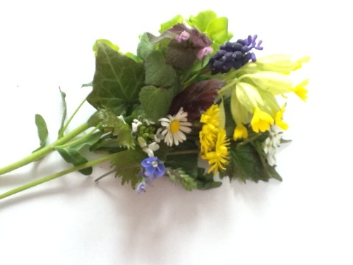 Bouquet of wildflowers I picked from a hike in the woods.  Studies have shown that children who play outside, near trees are calmer than children who have no exposure to the natural world.  Studies have shown that daily exercise has a better success rate for alleviating depression than do anti-depressant drugs or placebos.  Studies show that people who walk on uneven surfaces (outdoors) burn more calories and are fitter than people who walk on treadmills or sidewalks.  I could go on and on and on about all the benefits of exercising outdoors. But the best way to understand all the benefits is to start exercising outdoors and instantly reap the benefits.  Listen and smile with cheerfulness as the birds serenade you. Feel alive with the breeze caressing your cheeks. Understand and be at peace with the life cycle of birth, death, rebirth, as you walk under the trees in every season. Understand that 99% of your angst is the result of you being born a natural free spirit but that you now find yourself straight-jacketed in an unnatural lifestyle and environment.  If you want to experience freedom, you need to step out of your cage.
