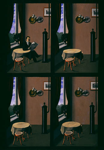Magritte's Man with a Newspaper sets up a narrative of everyday life with a potential story, however the story is uncertain, Magritte gives no clues.