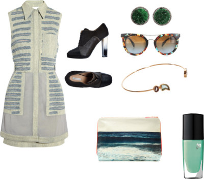 Cool Dress by olivialeblanc featuring a pouch bag3.1 Phillip Lim chiffon shirt dress / Dries Van Noten lace up high heels / Dezso by Sara Beltrán pouch bag / Studded jewelry / Dezso by Sara Beltrán cuff jewelry / Prada polka dot sunglasses, $245 / LancôMe Vernis In Love, Ultramarine Green