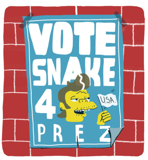 VOTE SNAKE FOR PREZ! www.simpsonsdrawingclub.tumblr.com www.thomasslaterillustrator.tumblr.com #sdc #snake #thesimpsons #thomasslater #violence #persuasion