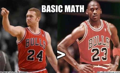 Michael Jordan 23 + Derrick Rose 1 = Thats  right the Great White Mamba Brian Scalabrine 24 … I'm a Jordan fan but this is just funny!