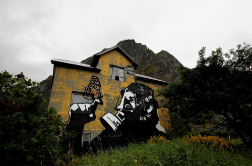 Some sweet street art from Pobel, a Norweigan artist that specializes in painting abandoned buildings.  Hit the link for more pictures and an interview: http://www.streetartnews.net/2013/02/streetartnewsjapan-x-pbel-interview.html