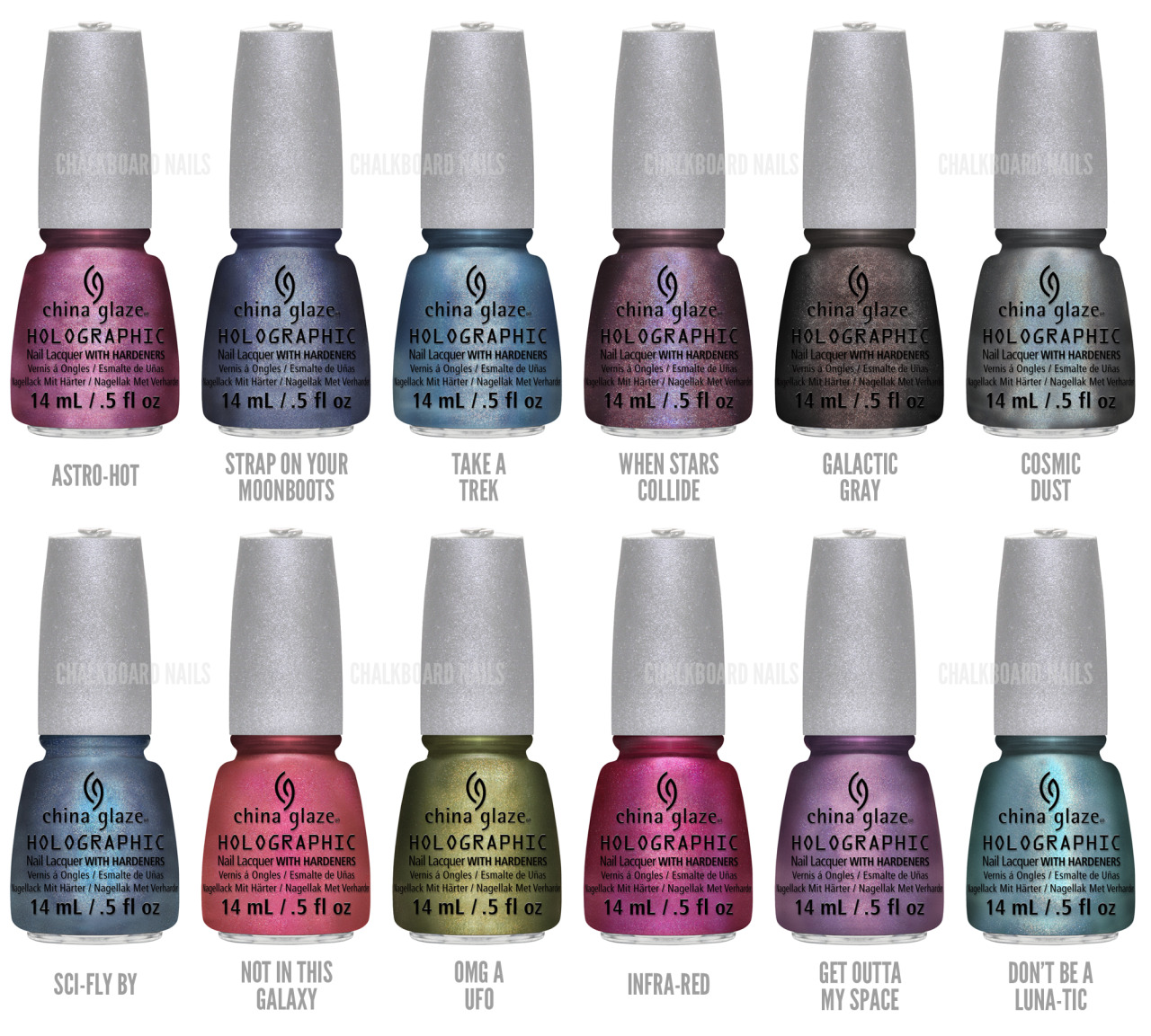 China Glaze Introduces 12 Illuminating Holographic Lacquers with Hologlam Fueled by the success of 2007's OMG Collection and back by popular demand, China Glaze Hologlam uses reflective, holographic particles to capture light and transform nails into amazing, ever-changing visual effects. With a strong linear finish whether indoor or shining bright in the sun, China Glaze Hologlam bends and changes, creating an illuminated three-dimensional, traveling color effect across the nail.