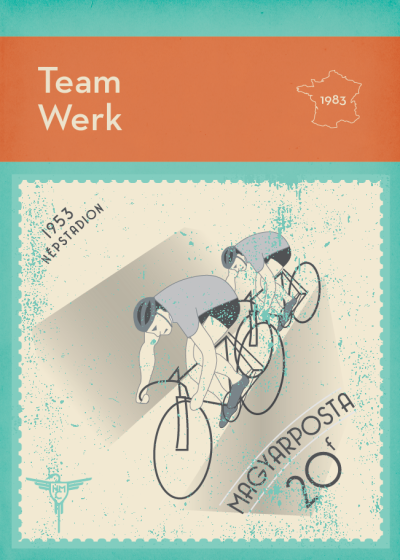 A Miscellany of Le Tour de France - Day 70 1983 One of the most revered songs produced in tribute to the Tour, Kraftwerk's Tour de France was released in 1983. The iconic sleeve design was adapted from an image that first appeared on a 1953 Hungarian postage stamp, one of asport-themed set commemorating the opening the Népstadion (People's Stadium) in Budapest. Kraftwerk are huge cycling fans, and once spent the entire Tour following the peloton in one of the race officials' vehicles. Every day until the Grand Depart, we'll be sharing 100 stories from the last 100 years, a design per day until the greatest show on earth begins. You can see the full set of stories, and purchase postcards and prints, atwww.thehandmadecyclist.com