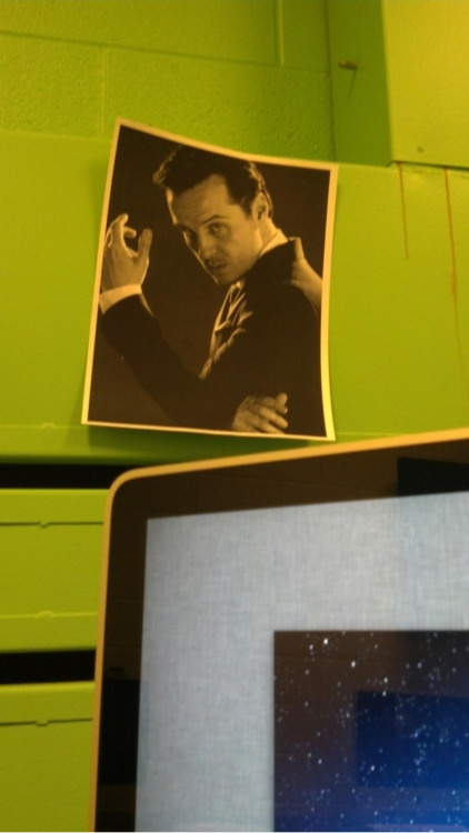 My friend Jon sent me this the other day. Someone taped a picture of Moriarty on the wall of the computer lab.