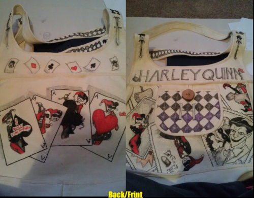 Harley Quinn canvas bag I just finished and needs delivering tomorrow. ugh. So busy ^.^ Feedback?