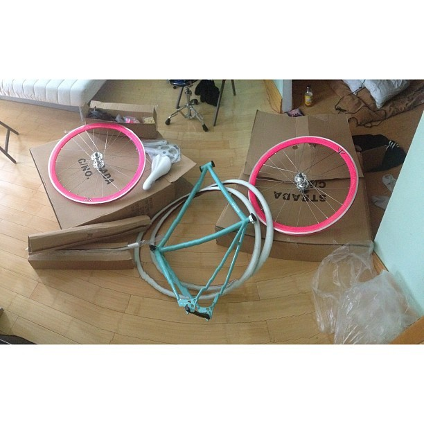 Time to build @hoelat girl strada.  #stradabikes #fixed #bikes #nyc #brooklyn