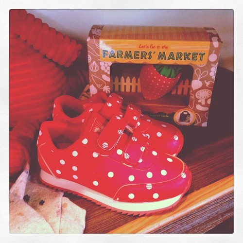 I want these for myself!! They're by Little Rodini. #polkadots #children #kids #shoes