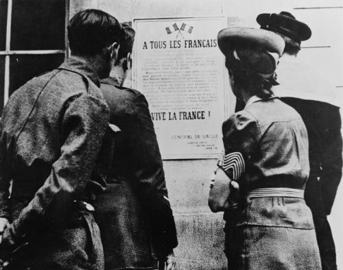 In London, surviving French read a poster of General de Gaulle's Appeal of 18 June:  The leaders who, for many years, have been at the head of the French armies have formed a government. This government, alleging the defeat of our armies, has made contact with the enemy in order to stop the fighting. It is true, we were, we are, overwhelmed by the mechanical, ground and air forces of the enemy. Infinitely more than their number, it is the tanks, the aeroplanes, the tactics of the Germans which are causing us to retreat. It was the tanks, the aeroplanes, the tactics of the Germans that surprised our leaders to the point of bringing them to where they are today. But has the last word been said? Must hope disappear? Is defeat final? No! Believe me, I who am speaking to you with full knowledge of the facts, and who tell you that nothing is lost for France. The same means that overcame us can bring us victory one day. For France is not alone! She is not alone! She is not alone! She has a vast Empire behind her. She can align with the British Empire that holds the sea and continues the fight. She can, like England, use without limit the immense industry of the United States. This war is not limited to the unfortunate territory of our country. This war is not over as a result of the Battle of France. This war is a worldwide war. All the mistakes, all the delays, all the suffering, do not alter the fact that there are, in the world, all the means necessary to crush our enemies one day. Vanquished today by mechanical force, in the future we will be able to overcome by a superior mechanical force. The fate of the world depends on it. I, General de Gaulle, currently in London, invite the officers and the French soldiers who are located in British territory or who might end up here, with their weapons or without their weapons, I invite the engineers and the specialised workers of the armament industries who are located in British territory or who might end up here, to put themselves in contact with me. Whatever happens, the flame of the French resistance must not be extinguished and will not be extinguished. Tomorrow, as today, I will speak on the radio from London.