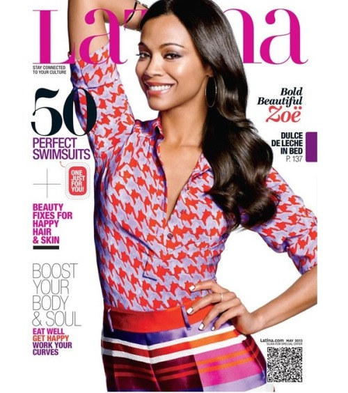 "Jenna Hipp does Zoe Saldana's nails for the cover of Latina magazine wearing shop NCLA nail wraps in ""Orbit Ring"" Thanks Jenna!!"