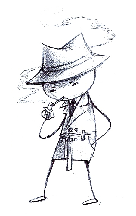 Doodled Problem Sleuth during my Iconic Films class. Noir.