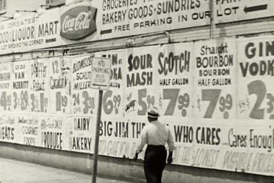Big Jim's Liquors, 1964, skid row, W Madison, Chicago.