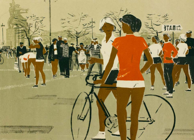 """Relay Race on Mira Avenue"" by I. Obrosov (1961) #soviet art#1960s#lithography#bicycles#soviet union#soviet#ussr#russia#history#vintage#retro#moscow"