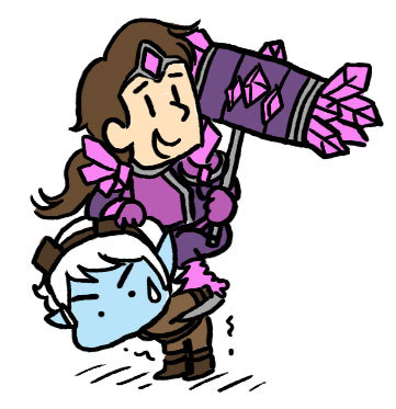 helloimtones:  taric n tristana doodles also wow tumblr just made these big