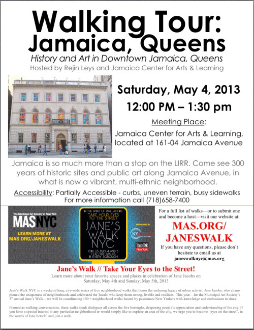 Saturday May 4th, I'm leading a walking tour of Historic Downtown Jamaica, as part of my Community Artist in Residence project @ JCAL. Join me if you love history. Or if you love NY. Or if you love going for walks, because it's going to be a lovely day. And fascinating!  jamaicany:  Did you know that Jamaica Avenue was used as a trade route by Native Americans in the pre-Colonial days? Or that Jamaica was the county seat before Queens became part of NYC in 1898? Join our Historic Downtown Jamaica Walking Tour this Saturday at Noon to see some historic sites and learn more about this fascinating neighborhood.