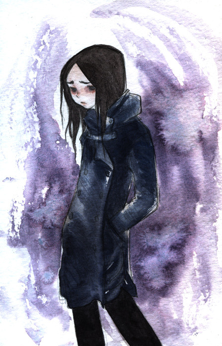 AS USUAL this didn't scan great :/ Watercolor doodle of Rain I did yesterday.