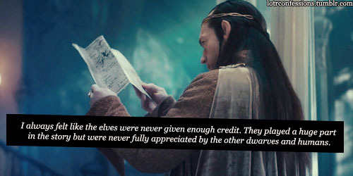 lotrconfessions:    I always felt like the elves were never given enough credit. They played a huge part in the story but were never fully appreciated by the other dwarves and humans.