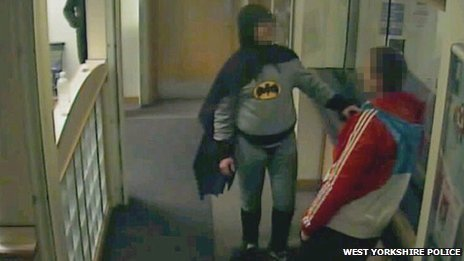 jayprospero:  breakingnews:  'Batman' delivers wanted man to police in England BBC News: A man dressed as Batman has handed over a wanted man at a Bradford, England, police station before disappearing into the night. Police said: 'The person who brought the man in was dressed in a full Batman outfit. His identity remains unknown.' Photo via West Yorkshire Police   Top man lol  Brilliant !!