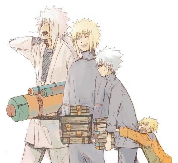kitsune-of-the-sand:  sensei + students~ three generations!! AND KAKASHI WITHOUT HIS MASK OMG HE IS SO CUTE~ THEY ARE ALL SO CUTE MINATO~ NARUTO~ JIRAIYA~ KAKASHI