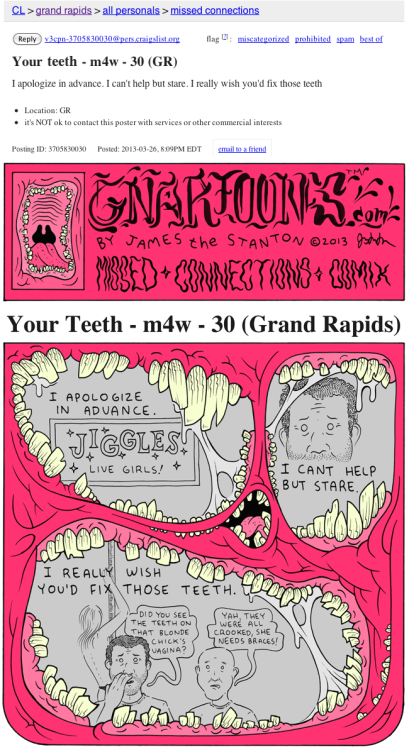 gnartoons:  Missed Connections Comix: Your Teeth